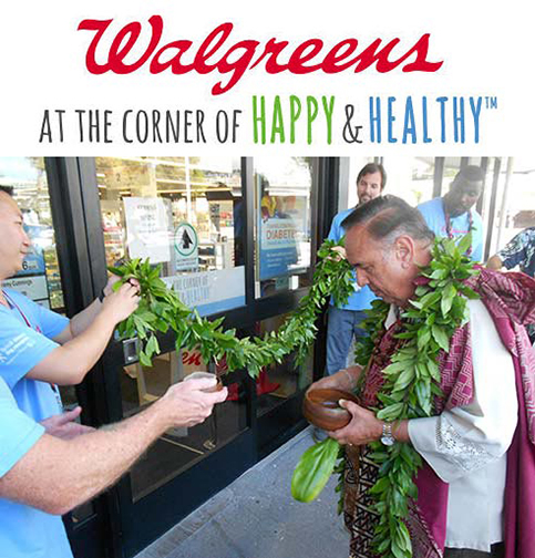 Kahu Silva performs Hawaiian grand opening blessing for Walgreens