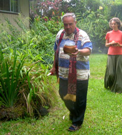 Kahu Silva performs blessing of exterior of county school